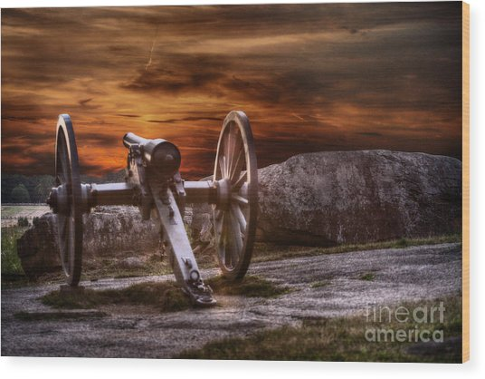 Sunset At Gettysburg Wood Print