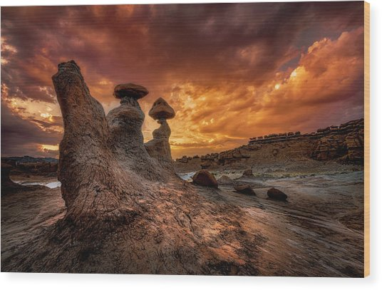 Sunset At Goblin Valley Wood Print