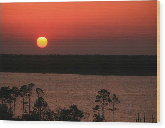 Sunset At Gulfshores Wood Print by James Jones