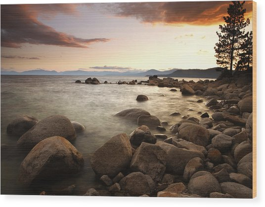 Sunset At Hidden Beach Wood Print