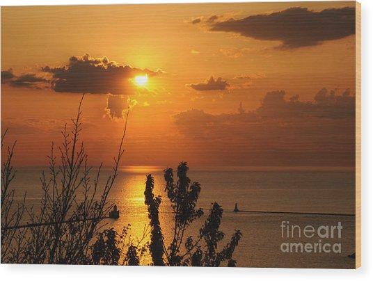 Sunset At Lake Huron Wood Print
