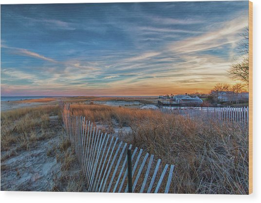 Sunset At Lighthouse Beach In Chatham Massachusetts Wood Print