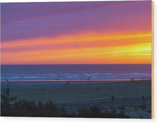 Sunset At Long Beach Washington Wood Print