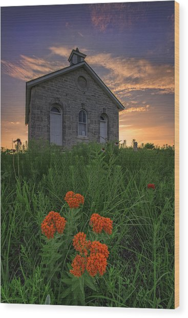 Sunset At Lower Fox Creek Schoolhouse Wood Print
