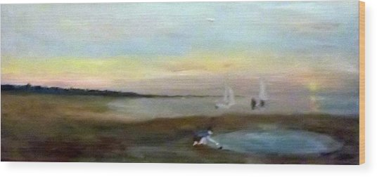 Sunset At Margate With Boats And A Boy With A Toy Boat Wood Print