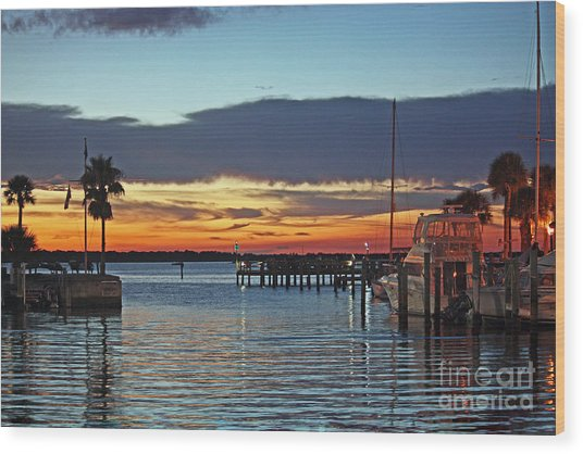 Sunset At Marina Plaza Dunedin Florida Wood Print