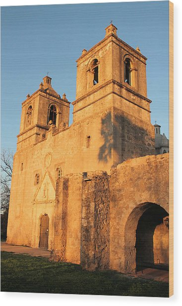 Sunset At Mission Concepcion Wood Print