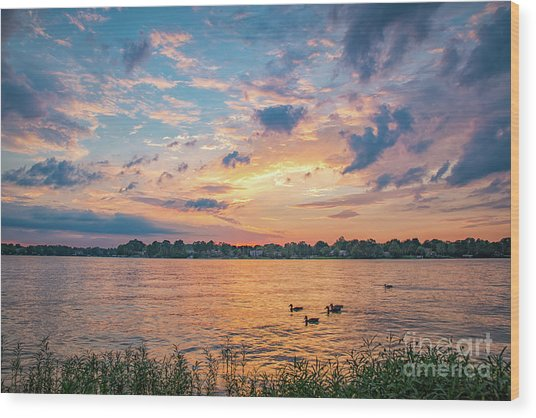 Sunset At Morse Lake Wood Print
