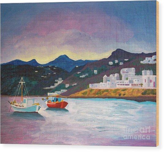 Sunset At Mykonos Wood Print