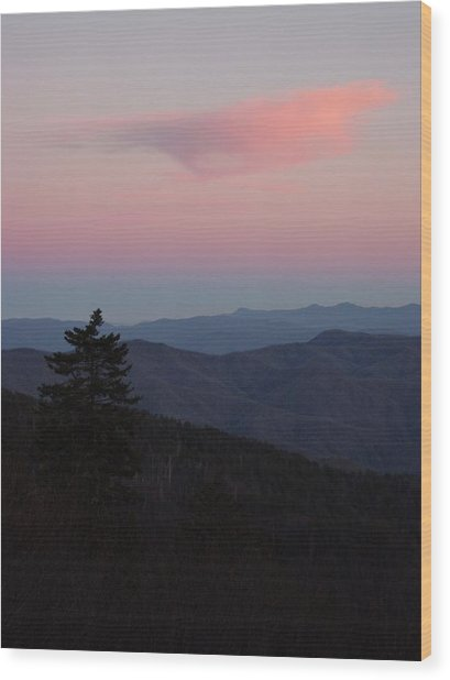 Sunset At Newfound Gap Wood Print by Steve Carpenter