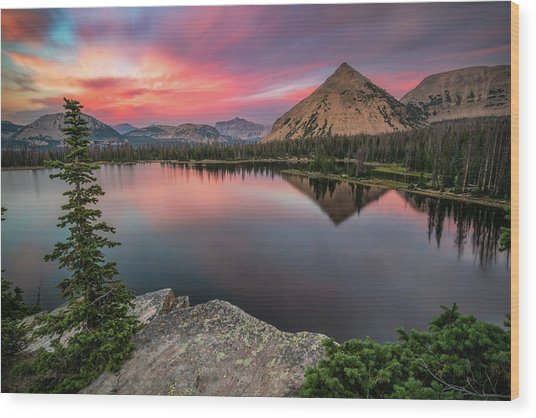 Sunset At Notch Lake Wood Print