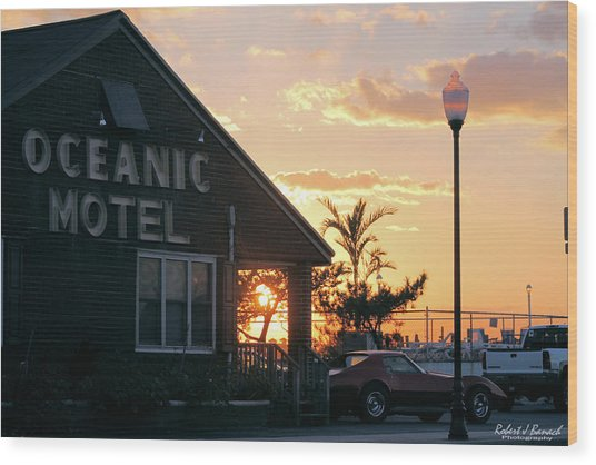 Sunset At Oceanic Motel Wood Print