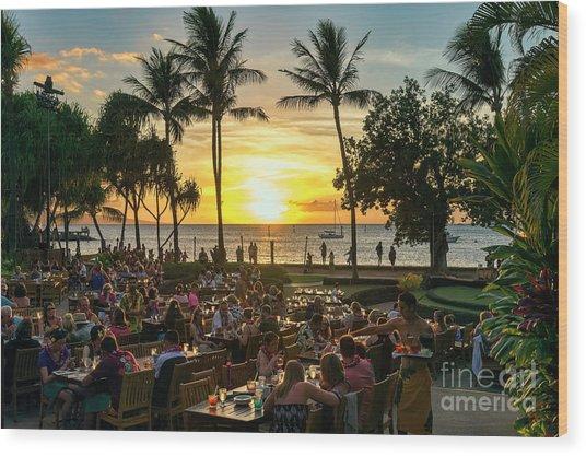 Sunset At Old Lahaina Luau #1 Wood Print