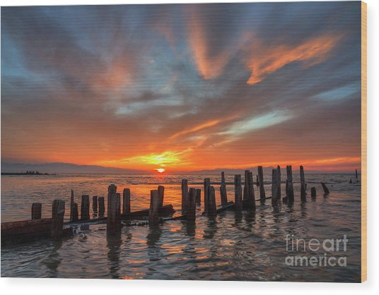 Wood Print featuring the photograph Sunset At Old Saltair Piers by Spencer Baugh