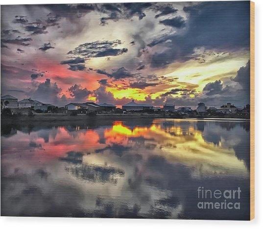 Sunset At Oyster Lake Wood Print