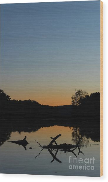 Sunset At Paulinskill Lake Wood Print