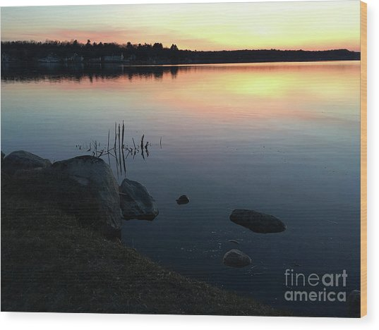 Sunset At Pentwater Lake Wood Print
