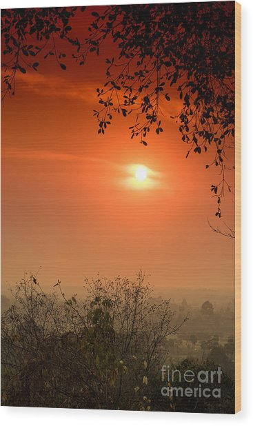 Sunset At Phnom Bakheng Of Angkor Wat Wood Print