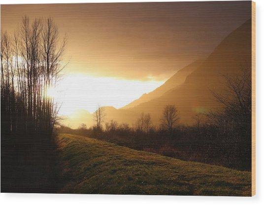 Sunset At Pitt Lake Dyke Wood Print
