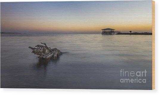 Sunset At Port St. Joe Wood Print by Twenty Two North Photography