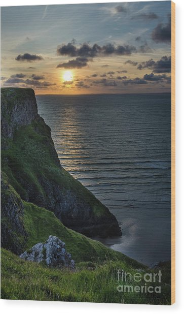 Sunset At Rhossili Bay Wood Print
