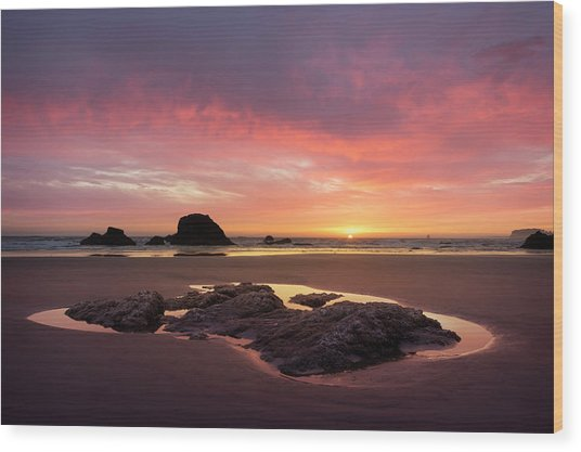 Sunset At Ruby Beach Wood Print