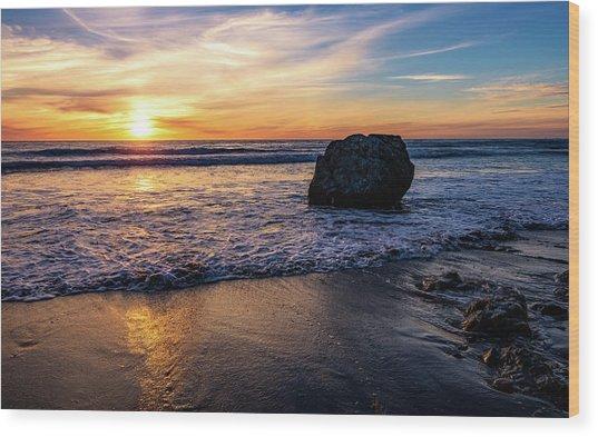 Sunset At San Simeon Beach Wood Print