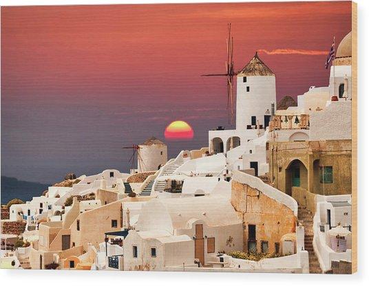 sunset at Santorini Wood Print