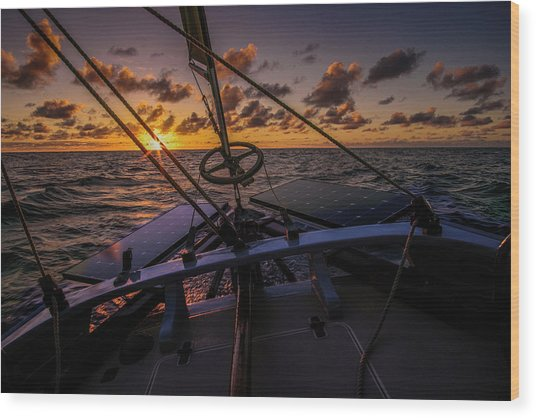 Sunset At Sea Wood Print