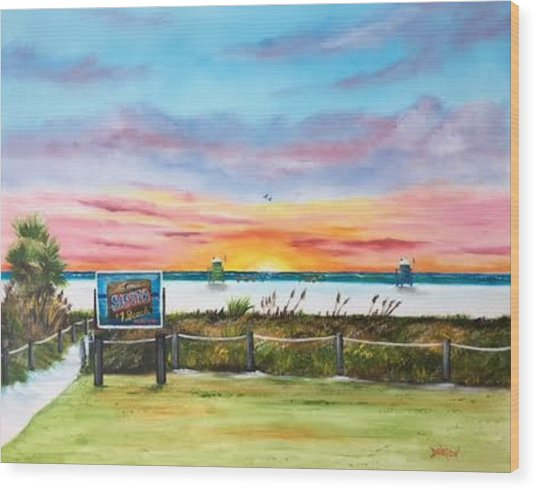 Sunset At Siesta Key Public Beach Wood Print
