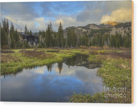 Sunset At Silver Lake Outlet Wood Print