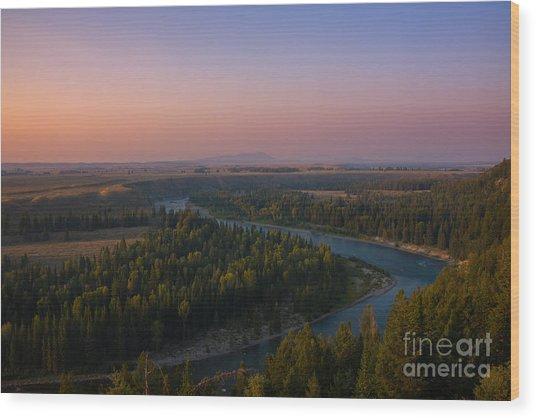 Sunset At Snake River Wood Print