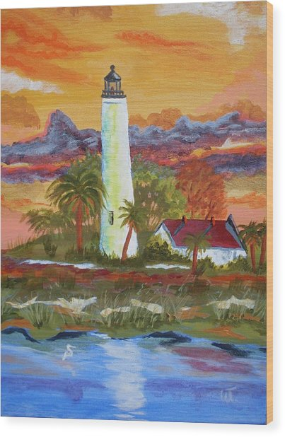 Sunset At St. Mark's Lighthouse Wood Print by Warren Thompson