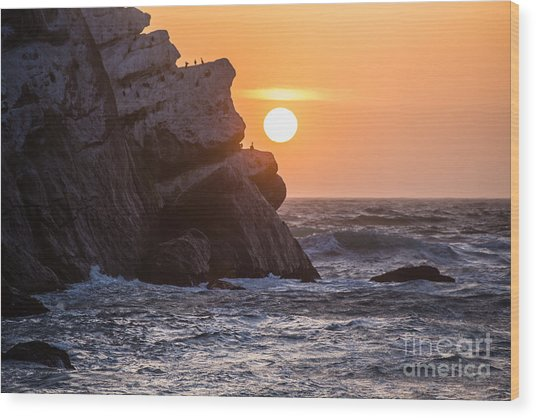 Sunset At Star Gazer Rock B3955 Wood Print