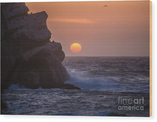 Sunset At Star Gazer Rock B3967 Wood Print by Stephen Parker
