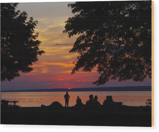 Sunset At Sylvan Beach Wood Print