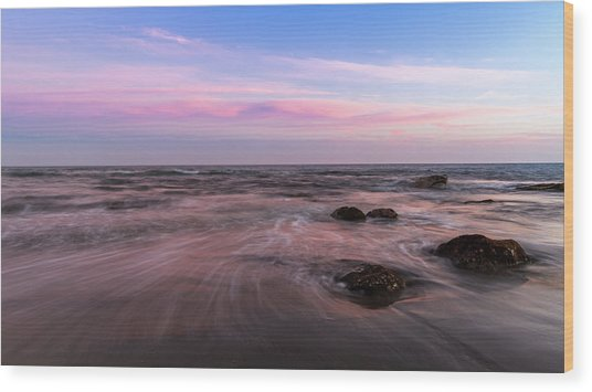 Sunset At The Atlantic Wood Print