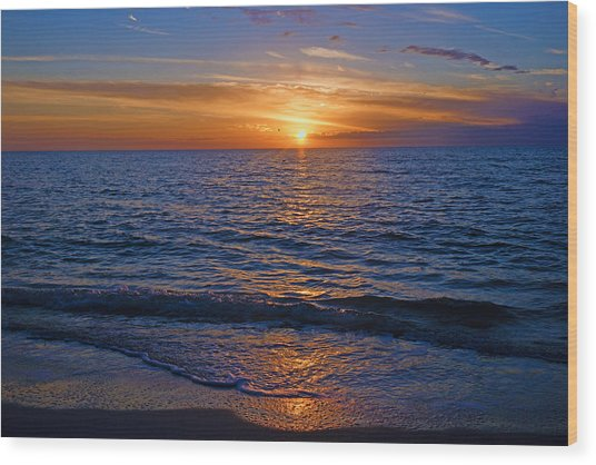 Sunset At The Beach In Naples, Fl Wood Print