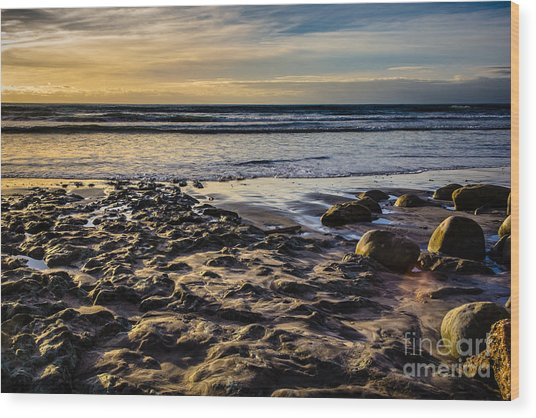 Sunset At The Beach Wood Print