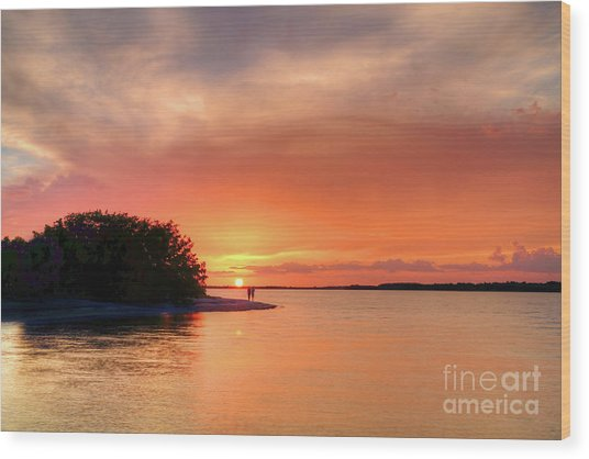 Sunset At The Beach Wood Print by Rick Mann