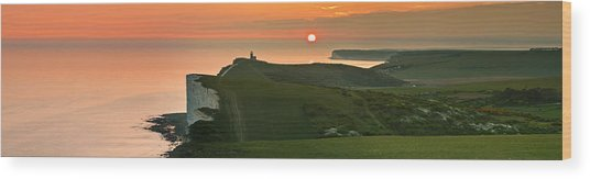Sunset At The Belle Tout Lighthouse Wood Print