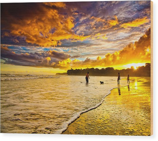 Sunset At The Coast Wood Print