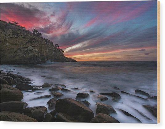Sunset At The Cove Wood Print