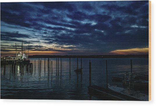 Sunset At The Dock Wood Print