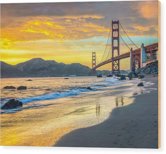 Sunset At The Golden Gate Bridge Wood Print