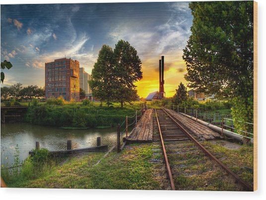 Sunset At The Imperial Sugar Factory Smoke Stacks Early Stage Landscape Wood Print