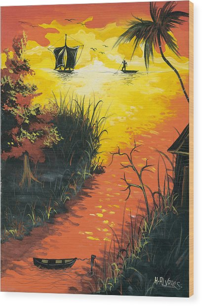 Sunset At The Inlet Wood Print by Herold Alvares