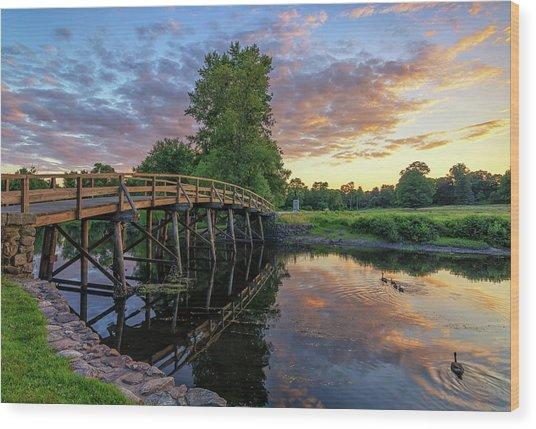 Sunset At The Old North Bridge Wood Print