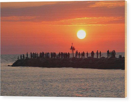 Sunset At The South Jetty, Venice, Florida, Usa Wood Print