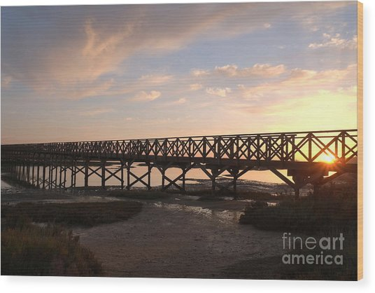Sunset At The Wooden Bridge Wood Print